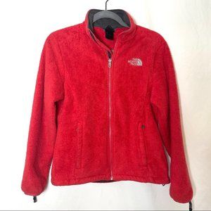 The North Face red fuzzy fleece full zip jacket